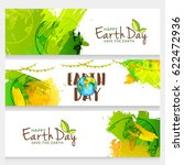 happy earth day header or... | Shutterstock .eps vector #622472936
