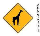 giraffe crossing road sign.... | Shutterstock .eps vector #622477724