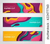 horizontal banners with 3d... | Shutterstock .eps vector #622477760