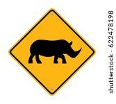 rhinoceros warning sign. road...   Shutterstock .eps vector #622478198