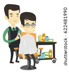 barber cutting hair of young... | Shutterstock .eps vector #622481990