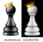chess piece pawn with golden... | Shutterstock .eps vector #622482596