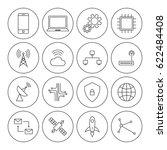 technology digital thin line... | Shutterstock .eps vector #622484408