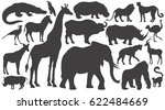 Stock vector black silhouettes of african animals on white background set vector illustration art elephant 622484669