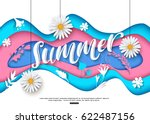 colorful summer background cut... | Shutterstock .eps vector #622487156