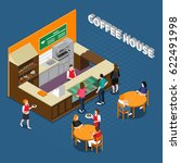 coffee house isometric... | Shutterstock .eps vector #622491998