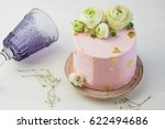 Cake With Pink Cream And Fresh...