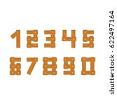 wooden numbers set isolated on... | Shutterstock . vector #622497164
