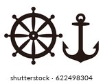 rudder and anchor sign isolated ... | Shutterstock .eps vector #622498304