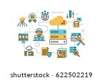 web hosting service line icons... | Shutterstock .eps vector #622502219