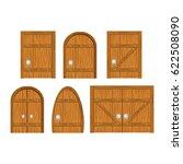 wooden door set. closed door ... | Shutterstock . vector #622508090
