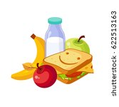 lunch food  sandwich  milk and... | Shutterstock .eps vector #622513163