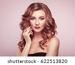 blonde woman with long and... | Shutterstock . vector #622513820