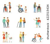 disabled people and friends... | Shutterstock .eps vector #622515434