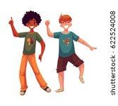 black and caucasian boys  kids  ... | Shutterstock .eps vector #622524008