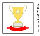 cup and ribbon reward. modern... | Shutterstock .eps vector #622524014