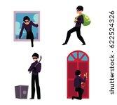 set of thief  robber  burglar... | Shutterstock .eps vector #622524326