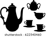 tea or coffee set silhouettes   ... | Shutterstock .eps vector #622540460