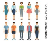young men and women in flat... | Shutterstock .eps vector #622540514