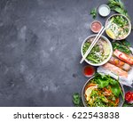assorted asian dinner with... | Shutterstock . vector #622543838