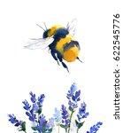 Watercolor Bumblebee Flying...
