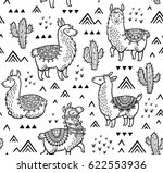 Outline Lamas Seamless Pattern...