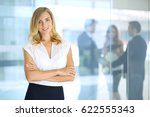 blonde woman with touch pad...   Shutterstock . vector #622555343