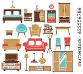 home furniture and room...   Shutterstock .eps vector #622556786