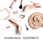 woman's trendy accessories on... | Shutterstock . vector #622558673