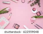 cosmetic pink frame with... | Shutterstock . vector #622559048