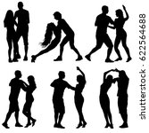 black set silhouettes dancing... | Shutterstock . vector #622564688