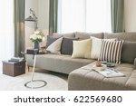 vase of flower on round glass... | Shutterstock . vector #622569680
