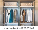 clothes hanging on rail in... | Shutterstock . vector #622569764