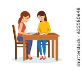 two girls sitting at the table... | Shutterstock .eps vector #622580648