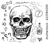 pirates skull hand drawn vector ... | Shutterstock .eps vector #622584200