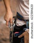 climber with climbing equipment  | Shutterstock . vector #622584620
