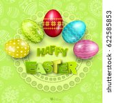 happy easter greeting... | Shutterstock .eps vector #622585853