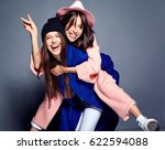 fashion portrait of two smiling ... | Shutterstock . vector #622594088