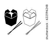 asian food box and chopsticks... | Shutterstock .eps vector #622596248
