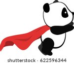 little panda super hero flies... | Shutterstock .eps vector #622596344