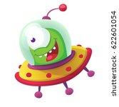 Cartoon Alien In Flying Saucer