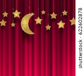 glitter gold stars and moon on... | Shutterstock .eps vector #622602878