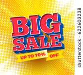 big sale sign on a halftone... | Shutterstock .eps vector #622603238