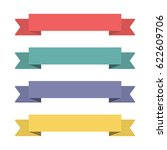 flat ribbons banners. ribbons... | Shutterstock .eps vector #622609706