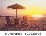 wooden table and chairs with... | Shutterstock . vector #622620908