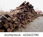 Extracted Old Wooden Ties In...