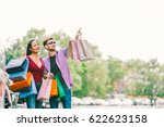 multiethnic couple with... | Shutterstock . vector #622623158