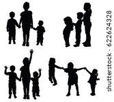 children holding hands black... | Shutterstock .eps vector #622624328