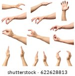 set of man hands measuring... | Shutterstock . vector #622628813