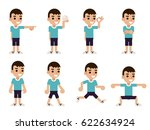 boy in different poses and... | Shutterstock .eps vector #622634924